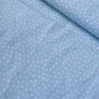 Ткань с мелкими белыми сердечками на мятном фоне, ширина 160 см