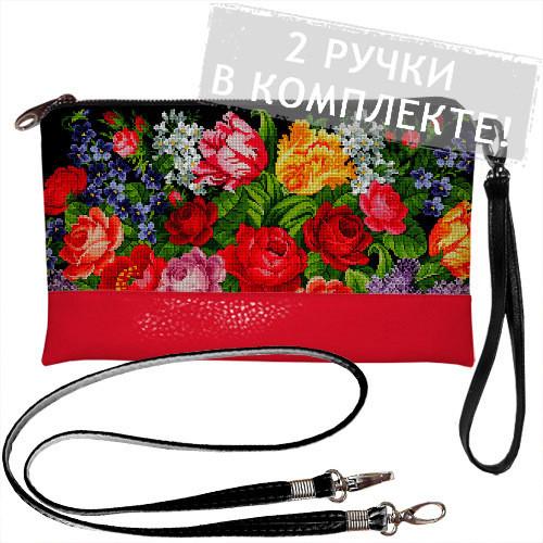 Клатч через плечо Цветы, вышивка (KL_GL_KR020)