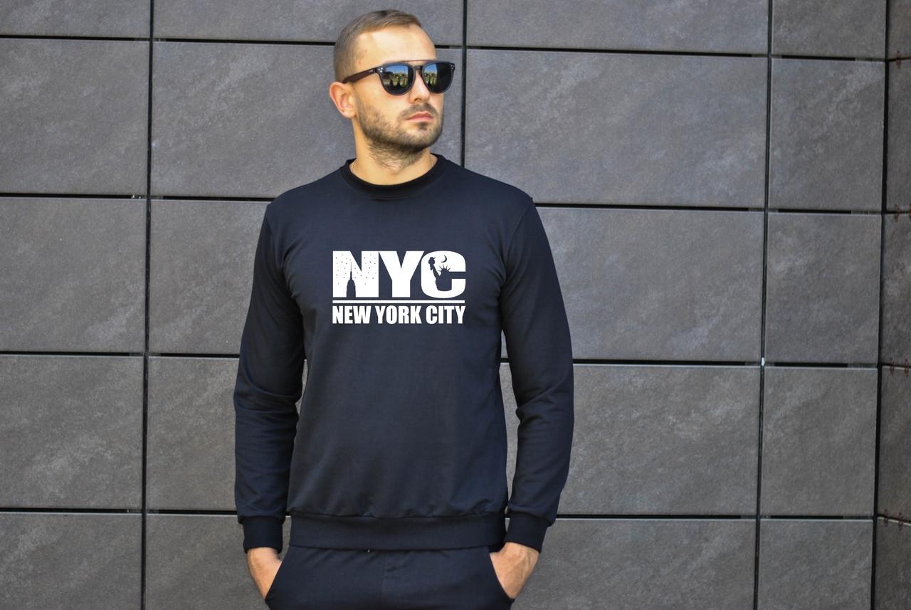 Мужской утепленный свитшот черный NYC