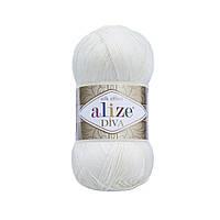 Пряжа Ализе Дива Alize Diva, цвет №1055 сахарно белый