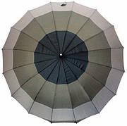 Зонт-трость, полуавтомат, 16 спиц, три оттенка серого