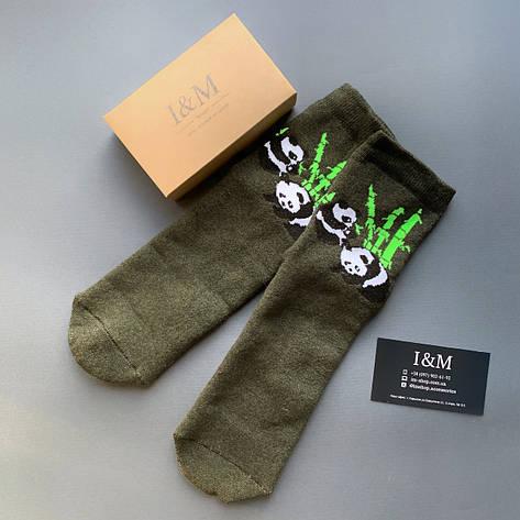 Носки женские I&M Craft цвета хаки с пандой (070340), фото 2