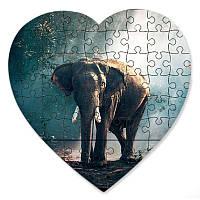 Пазл в форме сердца - Слон 190х190 мм
