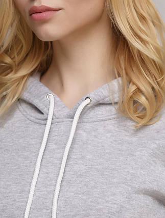 Худі жіночий теплий, колір меланж світло-сірий, фото 2