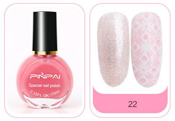Краска-лак для стемпинга № 22, PINPAI, Розовая
