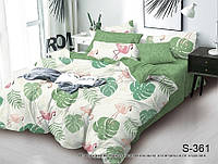 Евро комплект постельного белья с компаньоном Фламинго на молнии ТМ TAG сатин / комплект постільної білизни