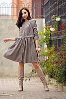 Теплое вельветовое платье свободного кроя отрезное по линии талии 42-50 размера в клетку, фото 1