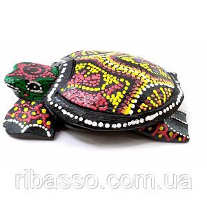 Пепельница черепаха деревянная расписная (12х8х3 см) ( 32695B)