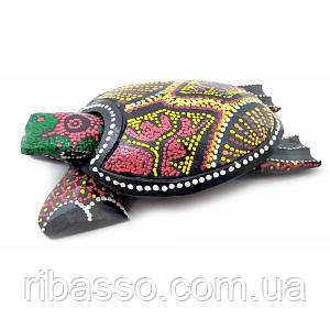 Пепельница черепаха деревянная расписная (20х11х5 см) ( 32695)