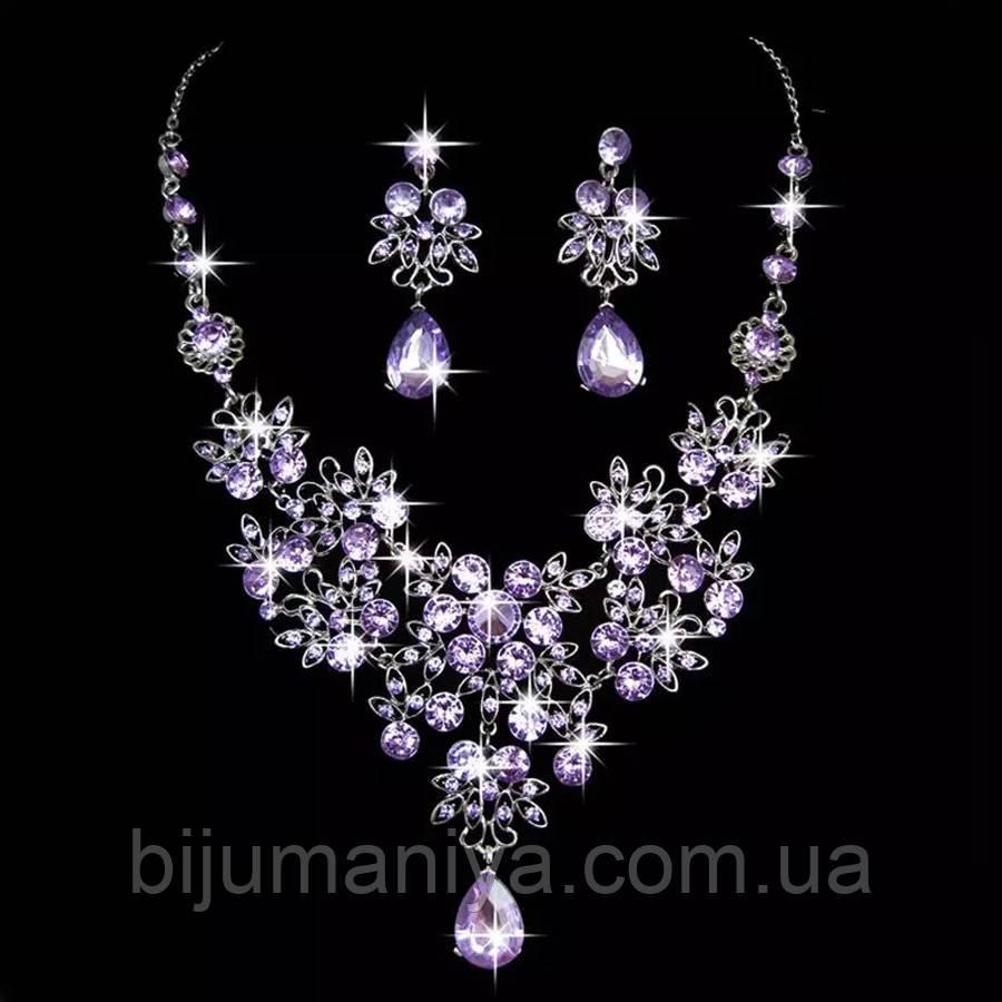 Набір вечірній ювелірна біжутерія сріблення, фіолетовий 4743в-р