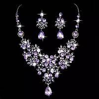 Набір вечірній ювелірна біжутерія сріблення, фіолетовий 4743в-р, фото 1