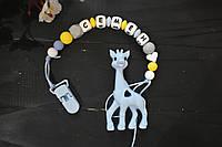 Именной силиконовый грызунок, держатель для пустышки Жираф голубой (Семён)