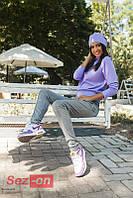 Костюм спортивный женский Chanel с шапочкой - Сиреневый + серый