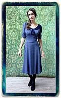 Платье из вискозного шелка глубокого синего цвета модель Анабель, размер S