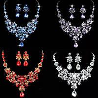 Набор вечерний ювелирная бижутерия посеребрение (4 цвета) 47433в