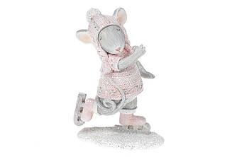Декоративная фигурка Мышка на коньках, 11см