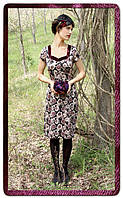 Платье бордовое из атласного шелка с принтом в стиле Обри, модель Келли