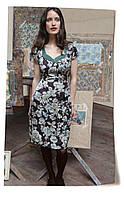 Платье из атласного шелка шоколадного цвета со скетч принтом роз модель Келли