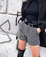 Шорты женские короткие, серый, бежевый, фото 1