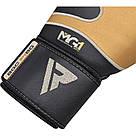 Боксерские перчатки RDX Leather Black Gold 14 ун., фото 4