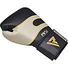 Боксерские перчатки RDX Leather Black White 14 ун., фото 6