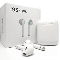 🔝 Bluetooth гарнитура для Apple - Airpods i9s-tws - беспроводные блютуз наушники с кейсом, Белые | 🎁%🚚