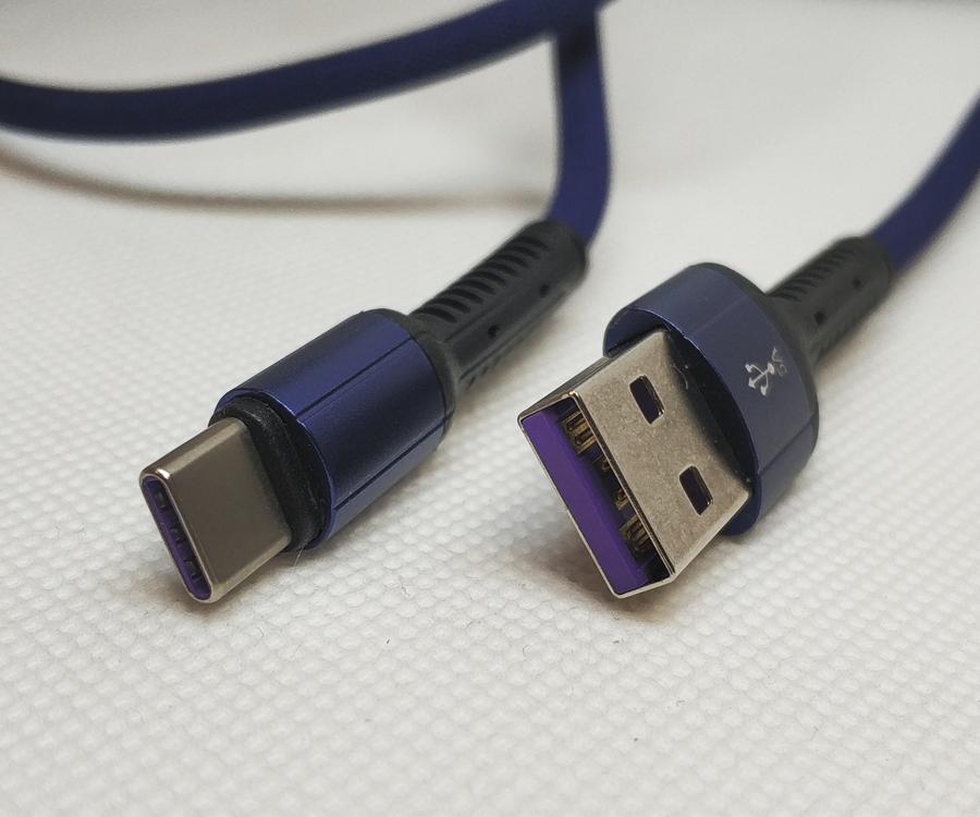 Усиленный кабель USB type-C, 5A, LDNIO LS63-5A, темно-синий