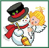 """Набор детский для вышивки """"Снеговик и ангелок"""""""
