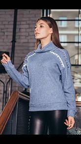Красивый модный теплый стильный вязаный женский плотный свитер под горло