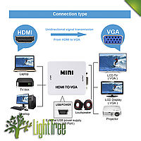 Адаптер конвертер HDMI-VGA видео + аудио UKC 1080P