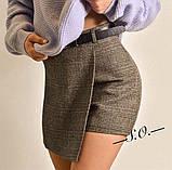 Юбка - шорты в клетку, светло серый, тёмно серый, бежевый, фото 4