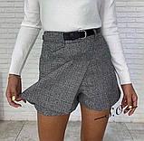 Юбка - шорты в клетку, светло серый, тёмно серый, бежевый, фото 2