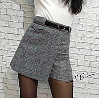 Юбка - шорты в клетку, светло серый, тёмно серый, бежевый, фото 1