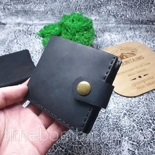 Мужское кожаное портмоне Compact черное