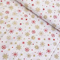 Хлопок с красными и золотыми глиттерными снежинками и звездочками, ширина 160 см