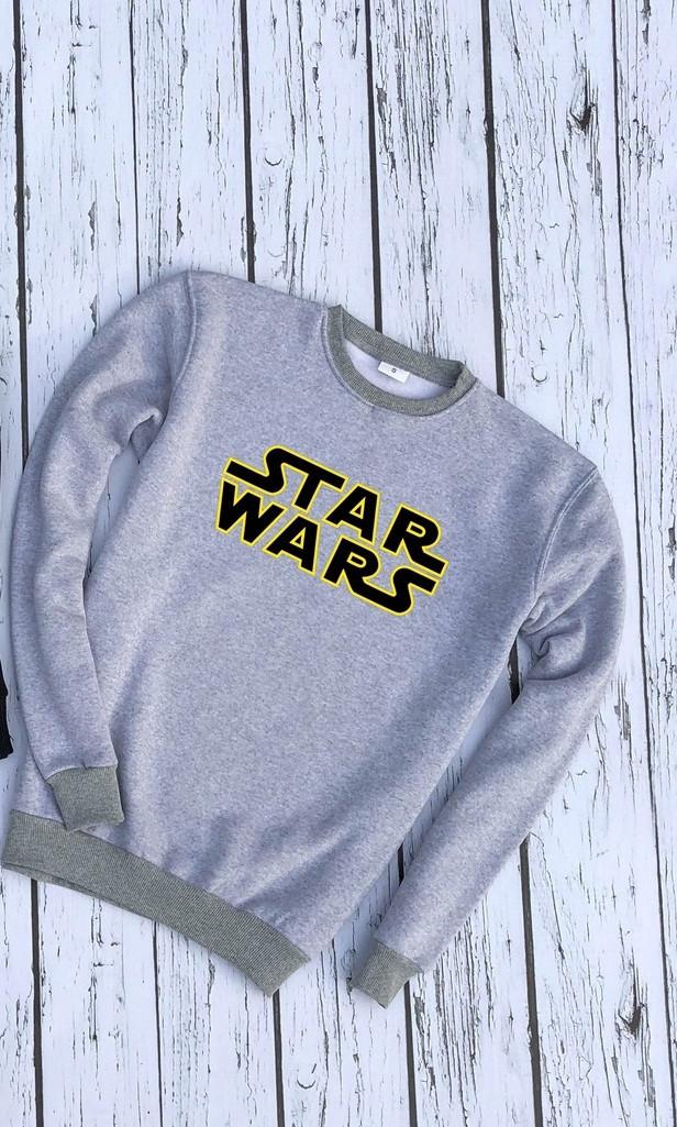 Мужской утепленный свитшот серый Star Wars