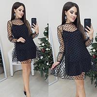 Платье женское стильное чёрное, пудра, электрик, 42-44, 44-46, фото 1