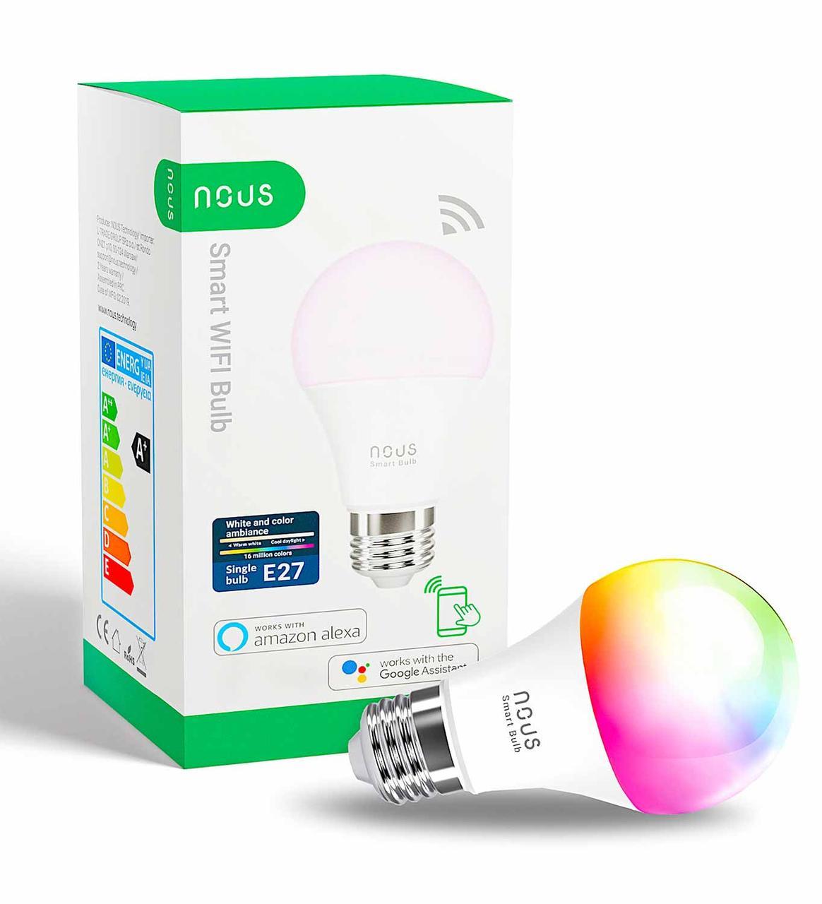 Умная Smart LED лампа NOUS P3 Bulb 9W E27 2700-6000K+RGB Wi-Fi