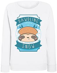 Женский свитшот Sleepy Sloth Dawdling Through The Snow (белый)