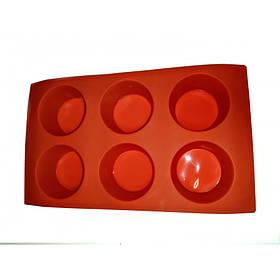 Силиконовая форма для выпечки круглая 6 штук Genes красная
