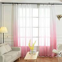 Тюль лен карнавал ( растяжка)  розовый