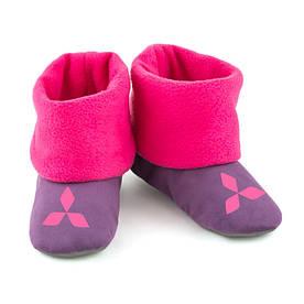 Домашние тапочки Митсубиши фиолетовые с розовым манжетом