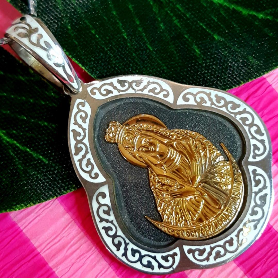 Серебряный кулон Остробрамская Богородица - Ладанка серебряная нательная иконка Божья Матерь Остробрамская