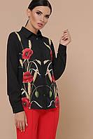 GLEM Маки Лекса КШ черная блузка с цветами д/р, фото 1