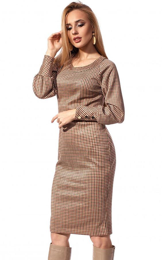 Сукня міді з вельвету коричневого кольору. Модель 1205. Розміри 42-50