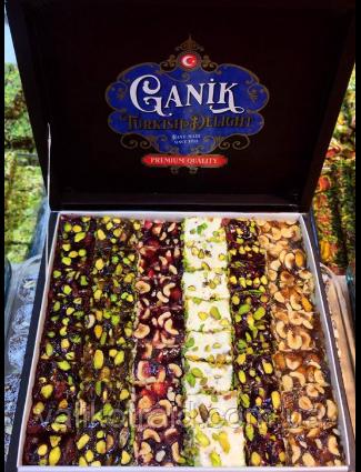 Рахат лукум GANIK премиум натуральный  с фисташковым орехом  500 гр , ассорти ( роза, гранат, абрикос, киви),