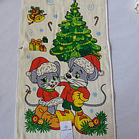Готовое хлопковое полотенце с мышками и елочкой 36х73 см, фото 1