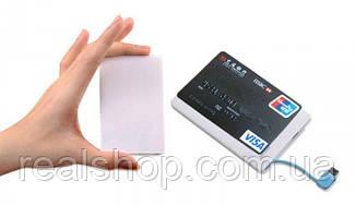 Тонкий компактный PowerBank кредитка Omega 2000mAh с MicroUSB и Lightning УМБ