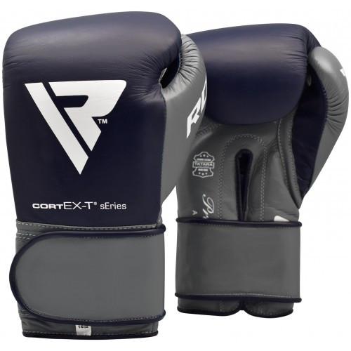 Боксерские перчатки RDX Leather Pro C4 Blue 14 ун.