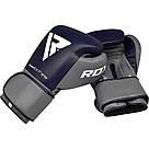 Боксерские перчатки RDX Leather Pro C4 Blue 14 ун., фото 7